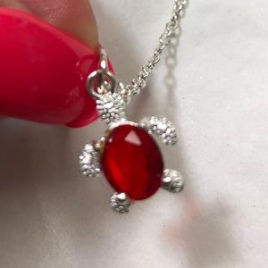 Silver and red turtle necklace